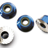 Traxxas 1747R - Nuts, Aluminum, Flanged, Serrated (4Mm) (Blue-Anodized)