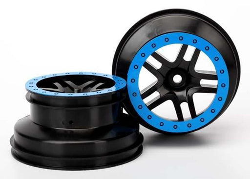 Traxxas 5884A - Wheels, Sct Split-Spoke, Black, Blue Beadlock Style, Du