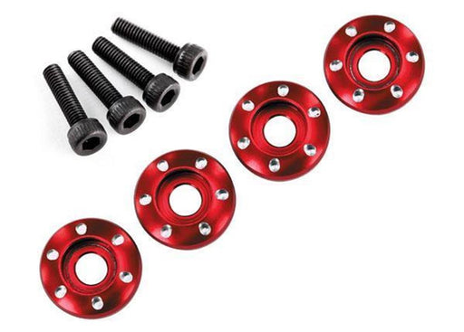 Traxxas 7668R - Wheel Nut Washer, Machined Aluminum, Red / 3X12Mm Cs (4)