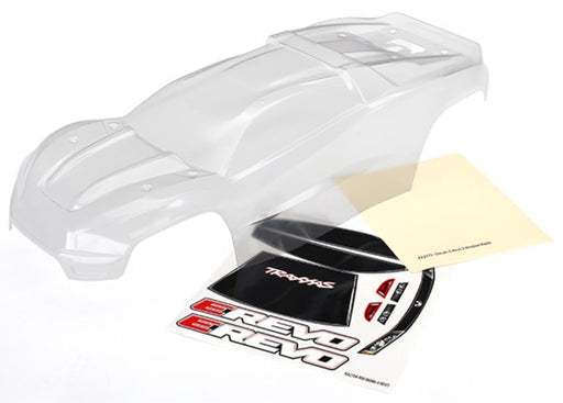 Traxxas 8611 - Body, E-Revo (Clear, Requires Painting)/Window, Grill, Lights Decal Sheet