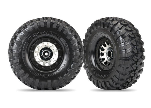 Traxxas 8172 - Tires And Wheels, Assembled (Method 105 Black Chrome Beadlock Wheels, Canyon Trail 2.2' Tires, Foam Inserts) (1 Left, 1 Right)