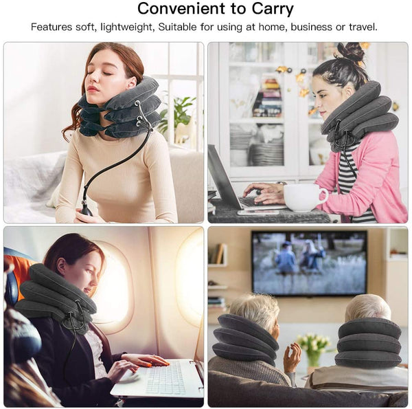 PRETTY SEE 3-layer Neck Support Pillow U-shaped Neck Pillow Cervical Neck Traction Device for the Neck and Shoulders, Gray