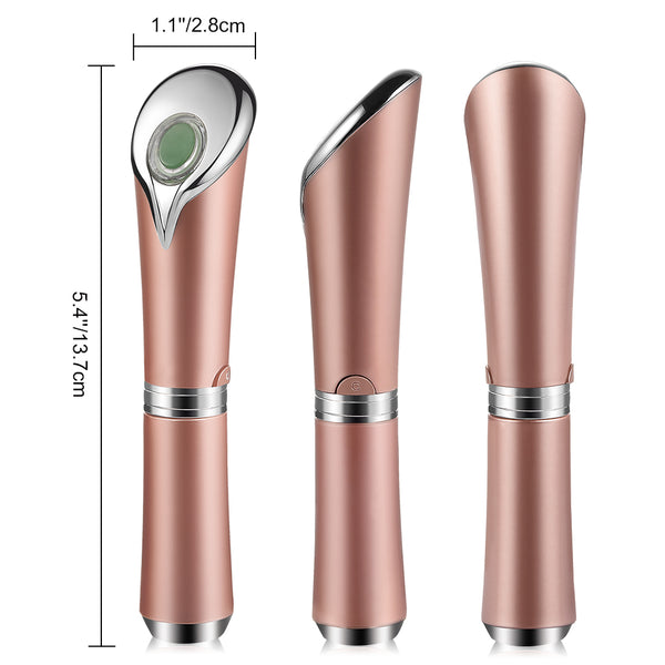 Prettysee Sonic Vibration Facial Massager Eye Massage Tool Skin Care Device for Eyes, Face and Neck, USB Charging, Rose Gold - PrettySee Beauty & Personal Care | Professional, High Quality | PrettySee