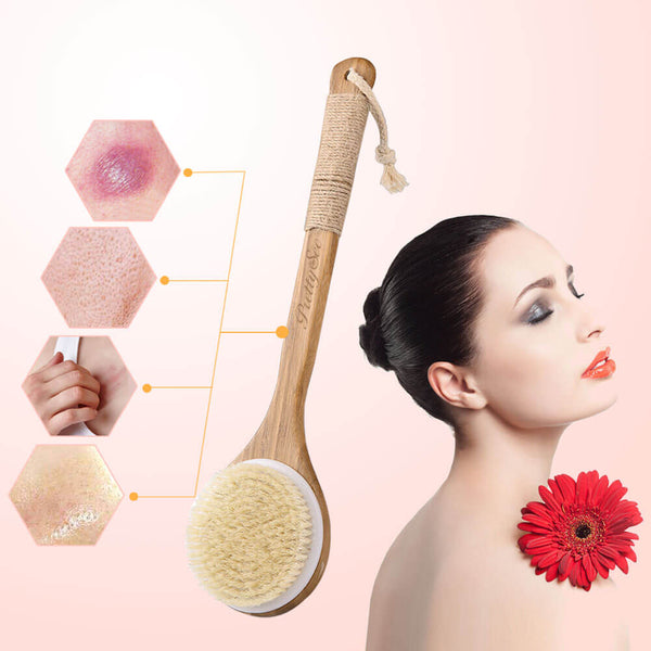 PrettySee Bath Shower Body Brush Wooden Bristles Scrubber Body Massage - PrettySee Beauty & Personal Care | Professional, High Quality | PrettySee