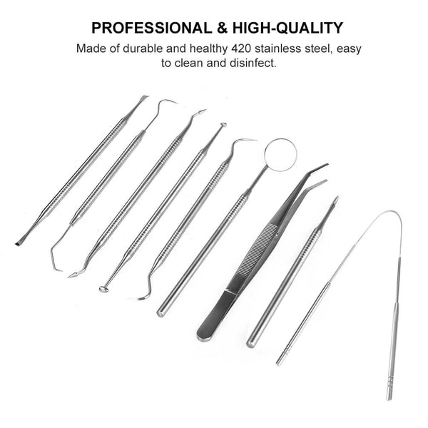 PrettySee Dental Cleaning Tools Kit Dental Hygiene Kit Dentist Pick Tools Dentist Prepared Tools, Set of 9 - PrettySee Beauty & Personal Care | Professional, High Quality | PrettySee