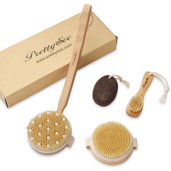 PrettySee Dry Brush Set Skin Exfoliating Kit Body Brush Facial Brush and Pumice Stone - PrettySee Beauty & Personal Care | Professional, High Quality | PrettySee