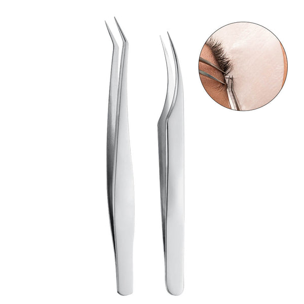 PrettySee Stainless Steel Eyelash Extension Tweezers Straight and Curved Pointed, Set of 2 - PrettySee Beauty & Personal Care | Professional, High Quality | PrettySee