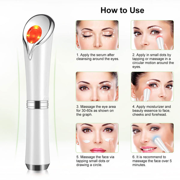 PrettySee Sonic Vibration Facial Massager Eye Massage Tool Skin Care Device for Eyes, Face and Neck, USB Charging, White - PrettySee Beauty & Personal Care | Professional, High Quality | PrettySee