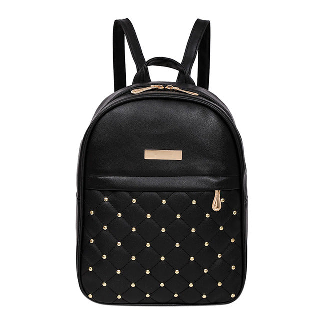 2018 Hot Fashion Design Women Leather Backpack Diamonds Rivet Backpacks for Girls Female School Shoulder Bag Black Bagpack