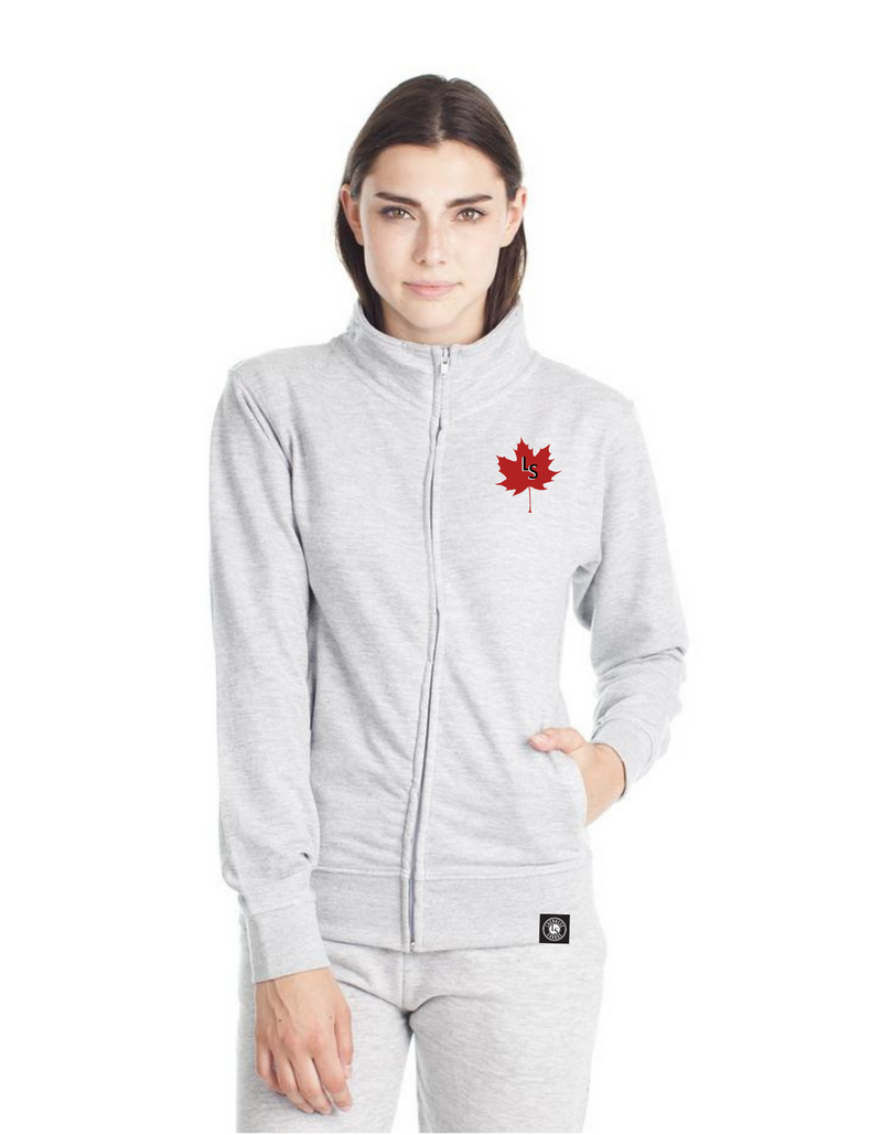 Ladies LS Maple Leaf Lacrosse Zipper Sweater | L377 - Lacrosse Savage