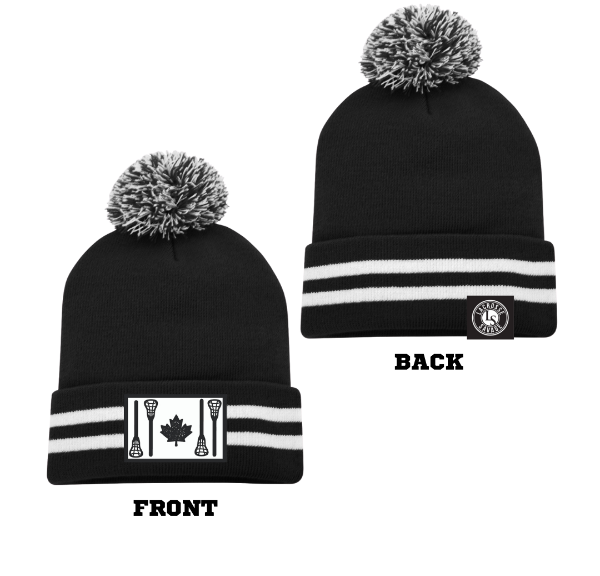 STICK FLAG POM POM TOQUE | BLACK with WHITE STRIPES - Lacrosse Savage