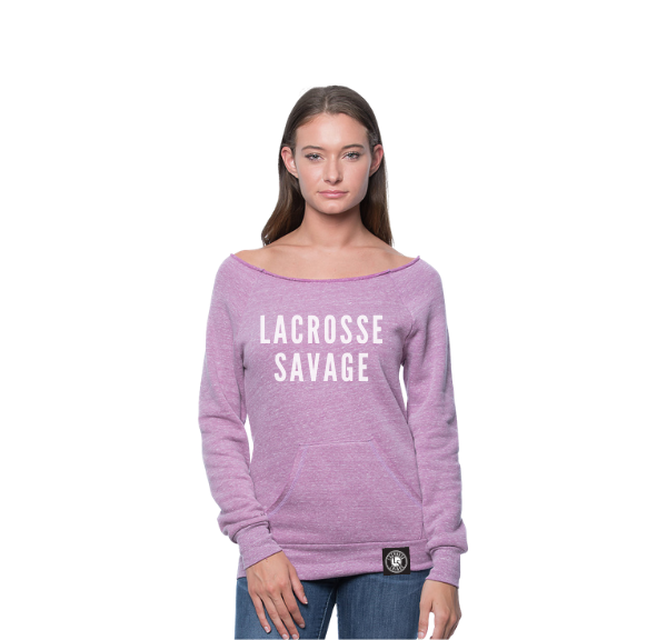 LACROSSE SAVAGE VARSITY LADIES Eco Triblend Fleece Raglan w Pouch Pocket - Lacrosse Savage