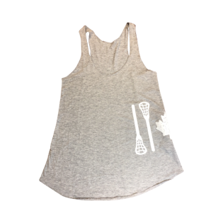 STICK FLAG | LADIES RACERBACK BAMBOO TANK TOP | GREY - Lacrosse Savage