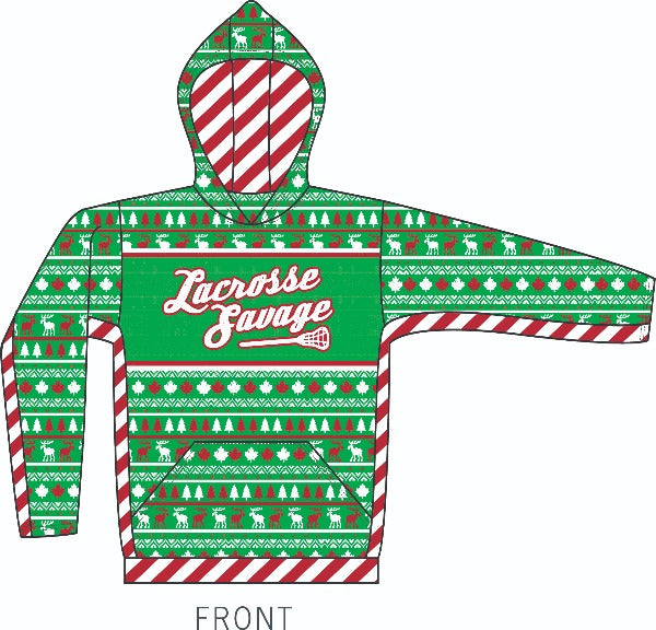 Lacrosse Savage Ugly Christmas Hoodie - Available in Youth & Adult / Unisex - Lacrosse Savage