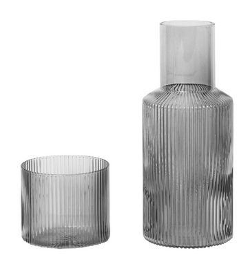 Ripple Carafe Set, Small Smoked Grey