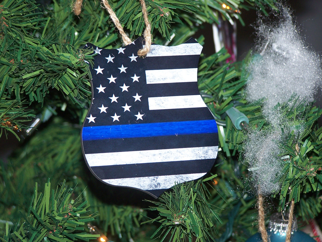 Thin Blue Line, Christmas Ornament, Badge Ornament