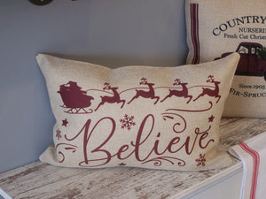 Faux Burlap BELIEVE Pillow