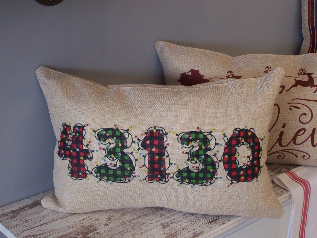 Christmas Lights Zipcode Pillow