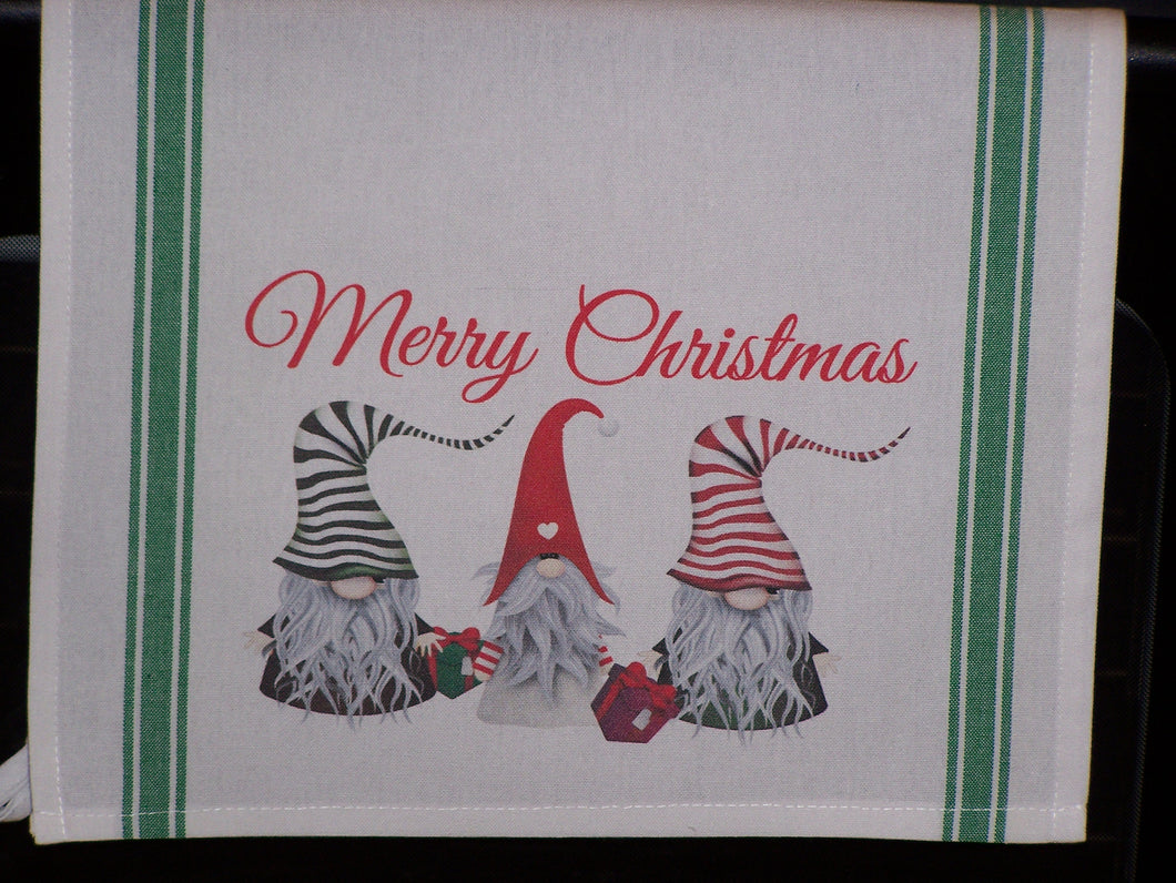 Merry Christmas Gnome, Striped Kitchen Towel