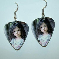 Guitar Pick Earrings, Personalized Guitar Pick, Custom Guitar Pick, Photo Guitar Pick