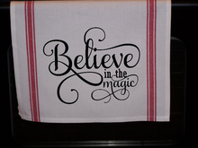 Load image into Gallery viewer, Believe in The Magic Striped Kitchen Towel