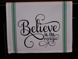 Believe in The Magic Striped Kitchen Towel