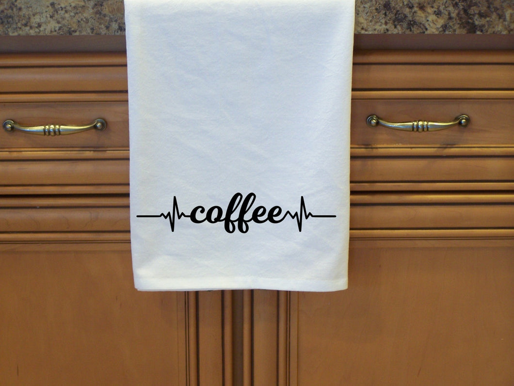 Coffee Heartbeat Flour Sack Towel-Tea Towel- Dish Towel