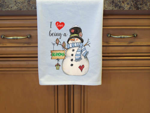 Flour Sack Towel, I Love Being  a Grandma