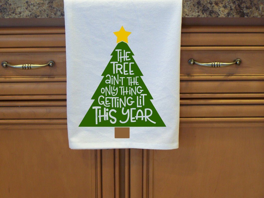 The tree isn't the only thing getting lit this year flour sack towel