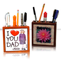 Personalized Wood Pen Holder
