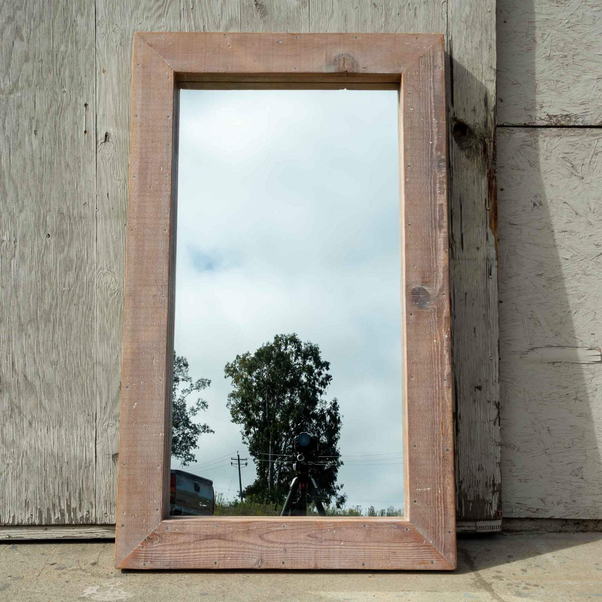 Waxed Wood Mirror