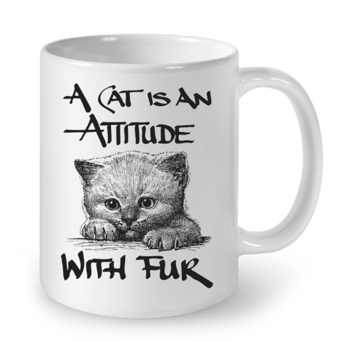 Cat Mugs Attitude with Fur