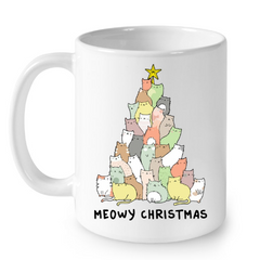 Cat Mugs Meowy Christmas
