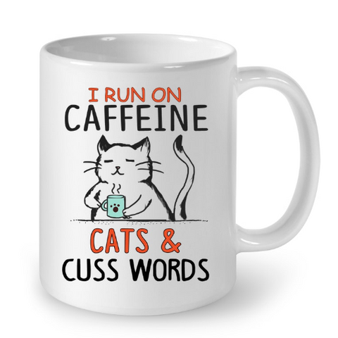 Cat Mugs I run on Caffeine