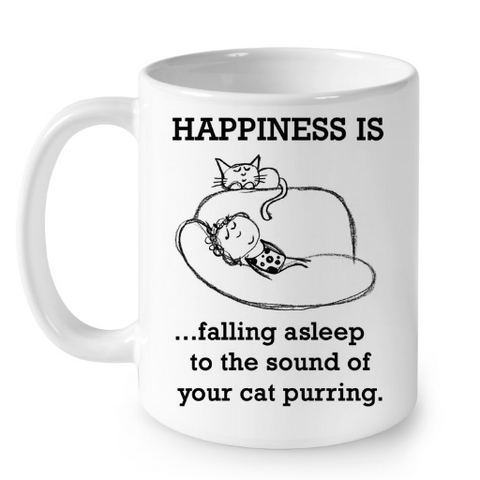 Cat Mugs Happiness is Falling Asleep