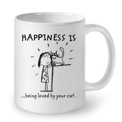 Cat Mugs Happiness is Being Loved