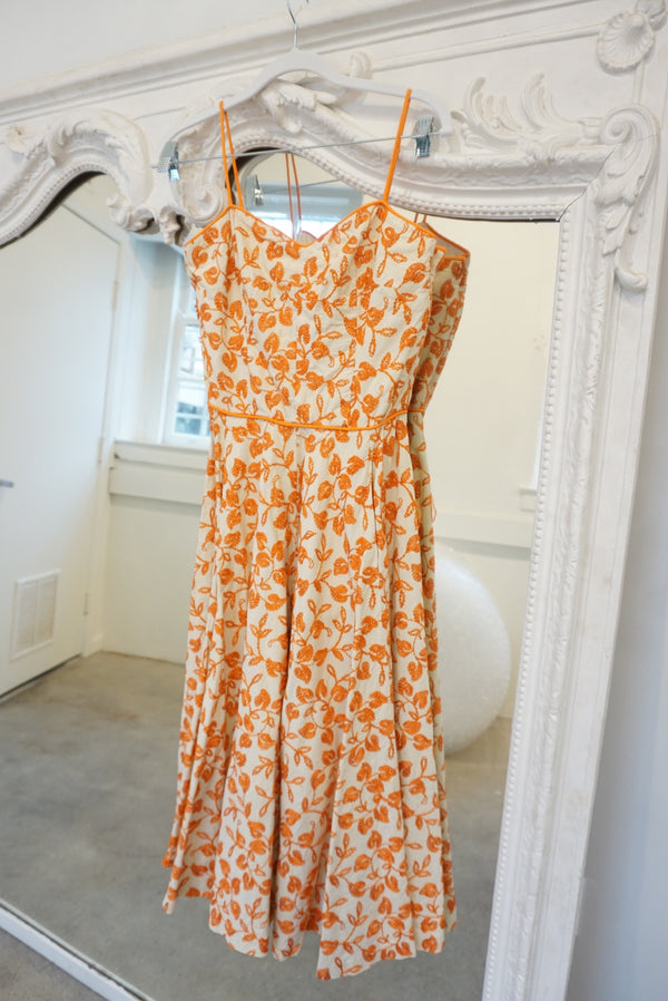 Small Orange Embroidered Swing Dress