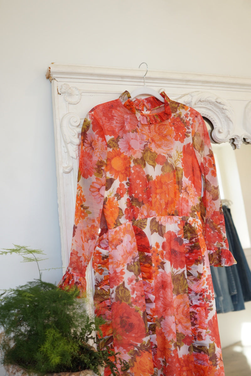 Medium 60's Floral Gown with Ruffle Detail