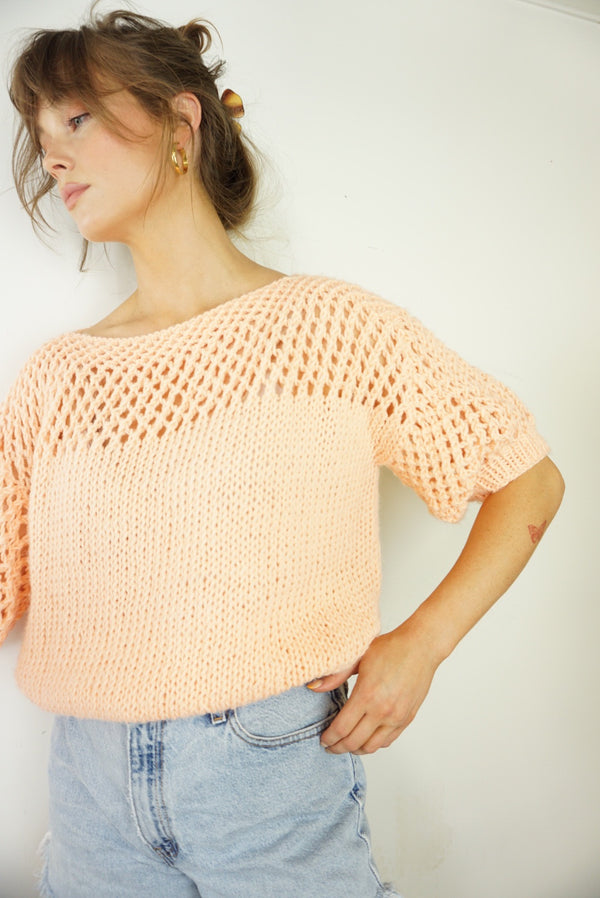 Medium/Large Sherbet Knit Puff Sleeve Sweater