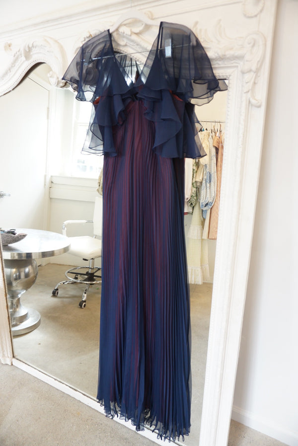 Small 70's Navy Pleat Gown