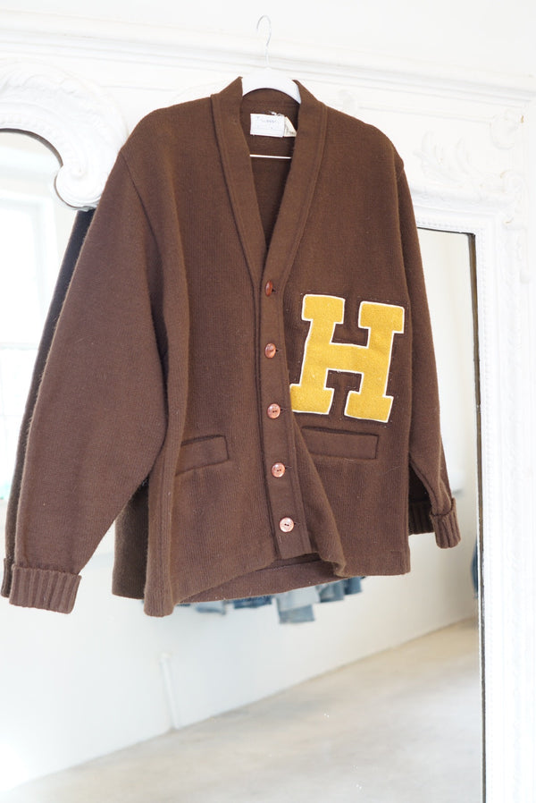 Small 50's Chocolate Varsity Cardigan