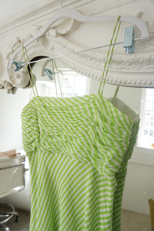 Small 90's Silk Lime Swing Dress