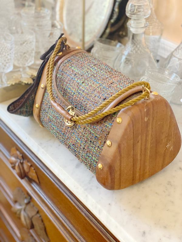 Tweed and Gold Shoulder Bag