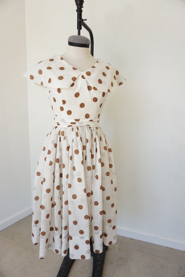 Small 50's Chocolate Dot Classic Dress