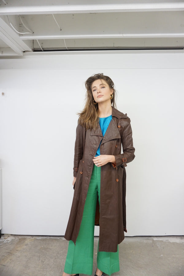Small Chocolate Leather Trench 60's