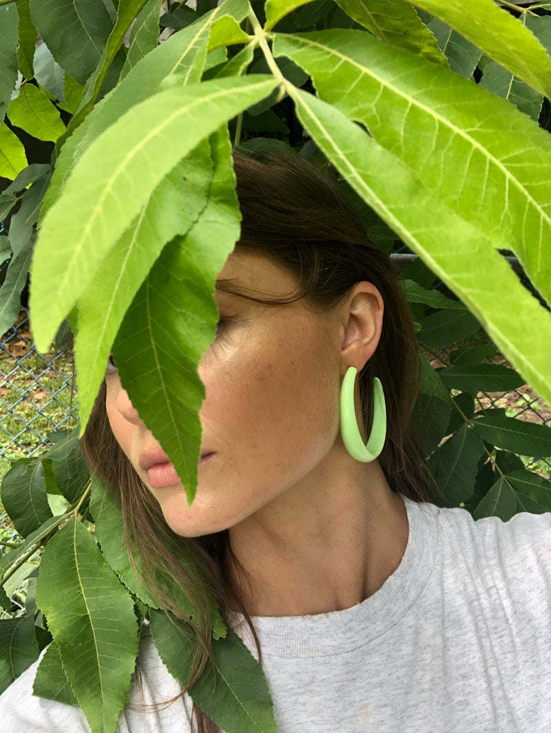 Oversized Lime Acrylic Hoops