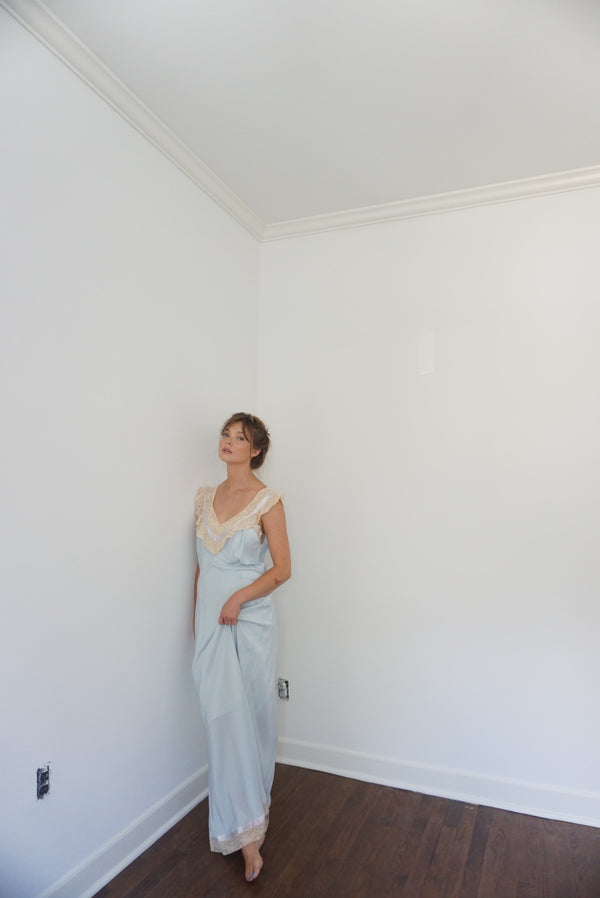 Large Baby Blue Rayon Beauty Slip Dress