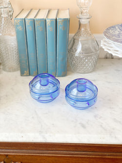 Blue Bubble Glass Candlestick Holders
