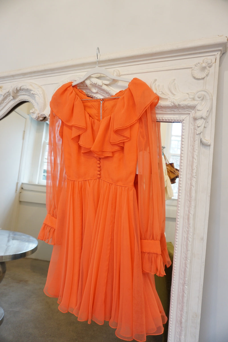 Small/Medium 60's Salmon Red Ruffle Dress