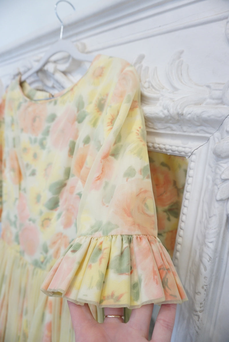 Small 1950's Perfect Yellow Floral Dress June Carter